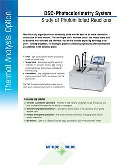 DSC-Photocalorimetry System Datasheet