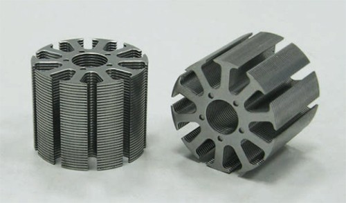 Figure 1. Rotor core of an electric motor. The individual metal sheets are clearly visible. They are electrically insulated by a film of cured varnish, typically 10-μm thick. Source: http://motorcorechina. de/1-motorstator/ 3-1-1b.jpg.