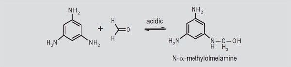 Fig. 2. Acid-catalyzed addition of formaldehyde to an amine group with the formation of a methylol group