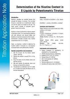 Nicotine Content in E-Liquids by Potentiometric Titration