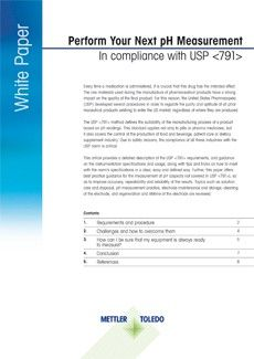 Livre blanc sur les exigences de l'USP <791> et spécifications des instruments pour les mesures de pH