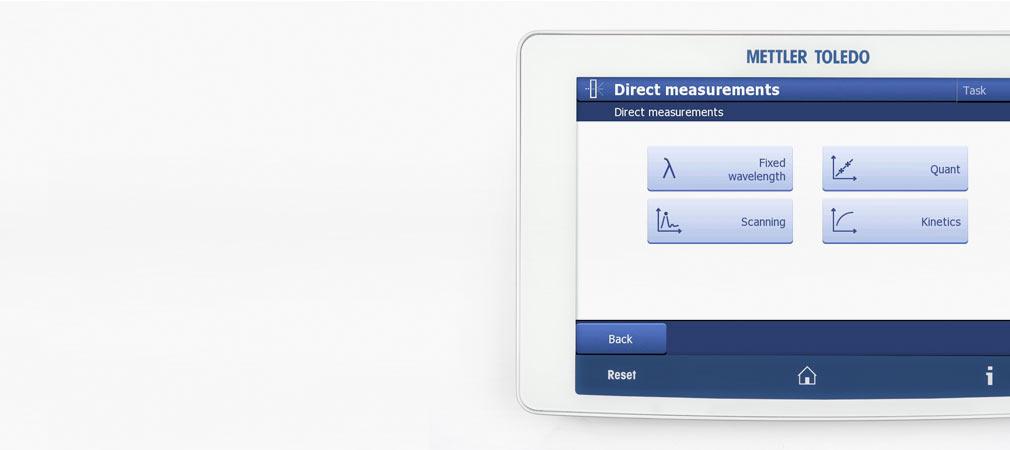 Ecran d'affichage d'un spectrophotomètre UV Visible montrant les deux modes disponibles