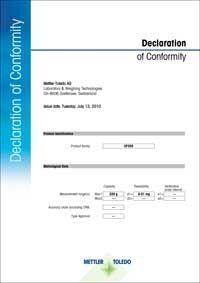 Declaration of conformity mettler toledo approved model ec type approved altavistaventures Choice Image