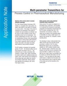 Multi-parameter transmitters for process control in pharma manufacturing