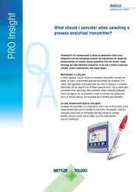 PRO Insight Series: How to Select a Process Analytical Transmitter