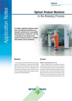 Frontpage Application Note Optical Product Monitors in the Brewing House