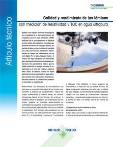 Agua ultrapura e instrumentación analítica en proceso para el sector de los semiconductores