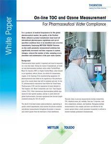 On-line TOC y medición del ozono para aguas farmacéuticas