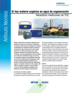 Si hay material orgánico presente en su agua de proceso de cogeneración, necesita una medición de TOC.