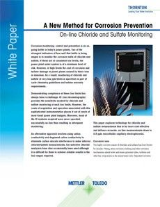 A New Method for Corrosion Prevention On-line Chloride and Sulfate Monitoring