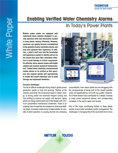 Water chemistry alarms