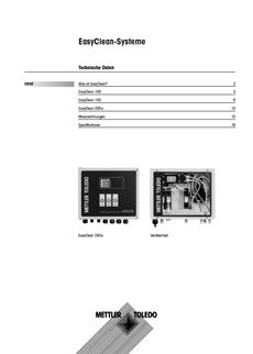 Technische Daten für EasyClean100, 150 und 200e