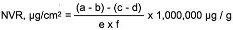 Calculation formula for non volatile residue