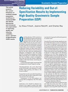 1 in 2 OOS results can be avoided with gravimetric sample preparation