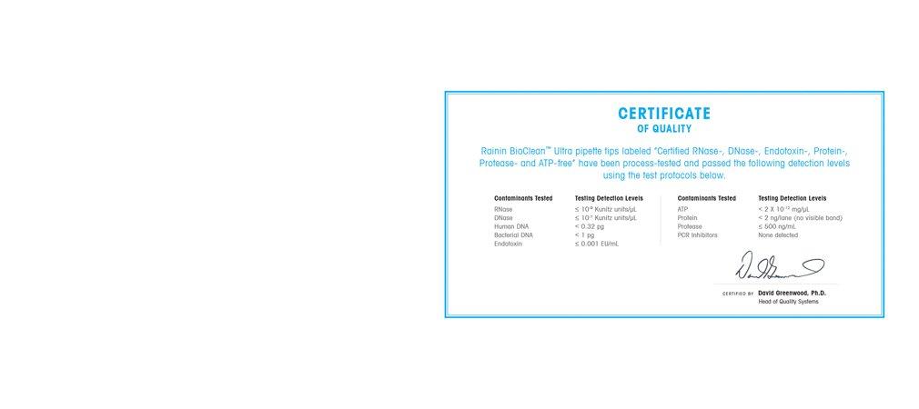 検出レベルの要件と使用されたテスト方法が記載された証明書