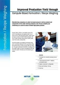 Improved Production Yield through Computer Based Formulation Weighing