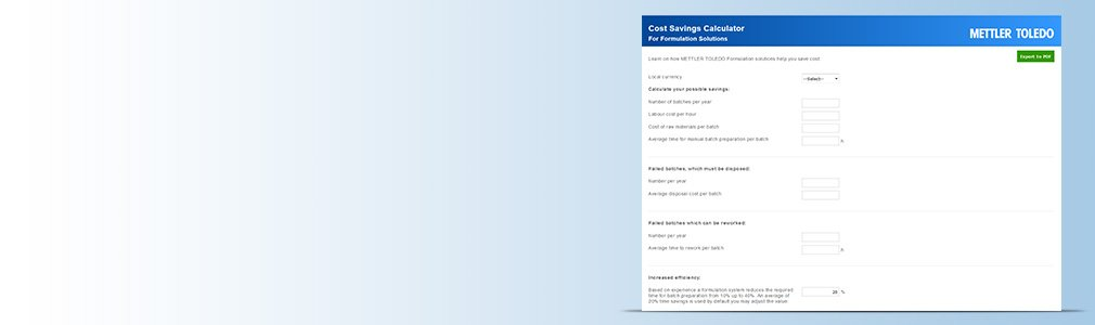 Formulation Cost Savings Calculator