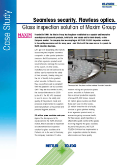 Maxim Group relies on glass vision inspection solution
