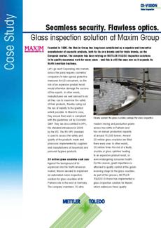 Maxim Group confía en la solución de inspección por visión para vidrio