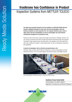 Case Study - METTLER TOLEDO's Inspection Solutions Gives Confidence to Frozen Food Supplier