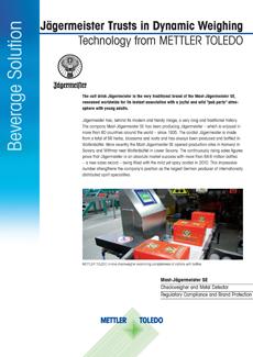 Jägermeister fait confiance à la technologie de pesage dynamique de METTLERTOLEDO Garvens