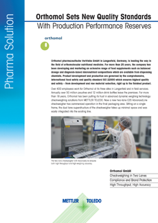 Orthomol Sets New Quality Standards With Checkweighing Technology