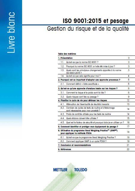 Livre blanc gratuit: les incidences des modifications de la norme ISO9001:2015 sur le pesage