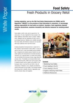 Market Perakende Taze Ürünler için Gıda Güvenliği Teknik Doküman
